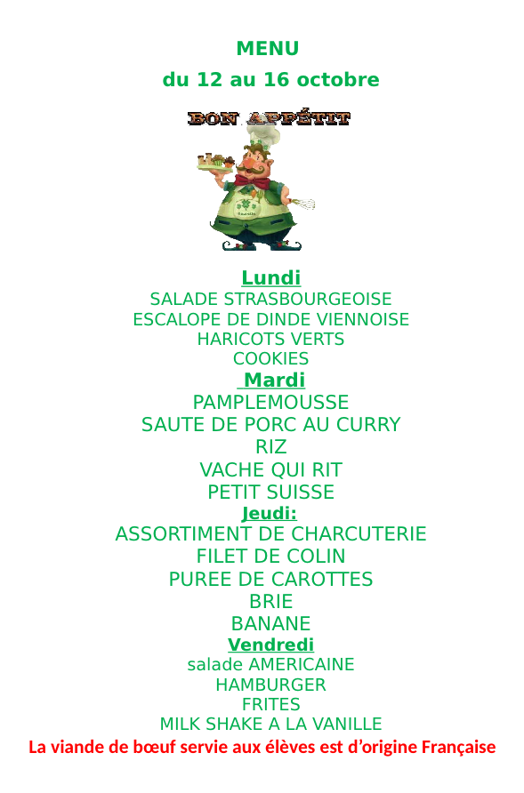 Menu du 12 au 16 octobre