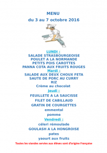 Menu du 03 au 07 octobre