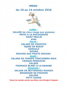 Menu du 10 au 14 octobre